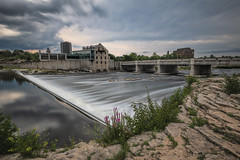 Before the Storm (B.E.K. Photography) Tags: cambridge ontario canada grand river dam longexposure storm sky clouds rock architecture building bridge summer afternoon weeds flowers mill park hill road nikon d850 nikon1735f28