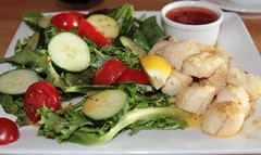 Scallops with salad and sweet chilli dip (Bristol Viewfinder) Tags: cafemorrillo magners scallops sweetchilli beach family waves fun sand sea surf broadhaven coffee cider lemonade water salad irishsea coastal pembrokeshire