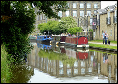 Canal reflections. (Country Girl 76) Tags: skipton north yorkshire leeds liverpool canal water trees buildings boats people dog narrow scenic reflections tranquil