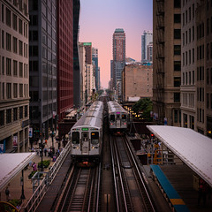 Above the El - Chicago (Darren LoPrinzi) Tags: 5d canon5d chicago il canon chitown illinois miii el theel transportation sunset trainstation people hustlebustle buildings cityscape skyline square squareformat leadinglines platform elevation elevated