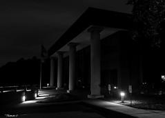 Columns In the Dark (that_damn_duck) Tags: nikon blackwhite monochrome building column architecture lights bw blackandwhite