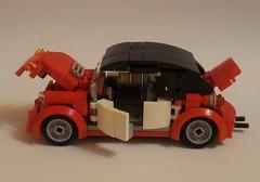 Red vw Beetle cabriolet (barneysharman) Tags: beetle vw volkswagen red car 1300 cabriolet moc vehicle kdf rat rod volksrod ratrod hotrod camper surf surfer lego