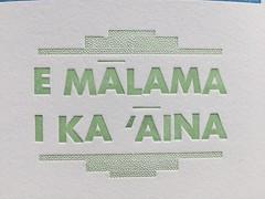Care for the Land (artnoose) Tags: malama aina care land hawaiian language green letterpress metal type etsy patreon print month club benefit macron