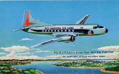 Fly EASTERN'S Great New SILVER FALCON (SwellMap) Tags: postcard chrome vintage transportation train plane boat roadside