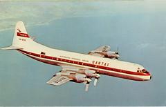Lockheed L-188C Electra, Quantas Airways Ltd. (SwellMap) Tags: postcard chrome vintage transportation train plane boat roadside
