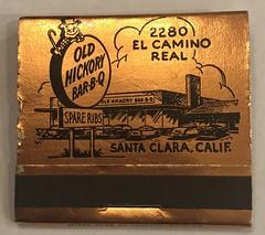 OLD HICKORY BAR-B-Q SANTA CLARA CALIF (ussiwojima) Tags: oldhickorybarbq restaurant bar cocktail lounge horseshoeroom santaclara california advertising matchbook matchcover