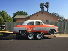 The Great Pumpkin (misterbigidea) Tags: explore 1951 deluxe chevrolet chevy afternoon fence yard urban 50s project mechanicsspecial orange beauty neighborhood sidewalk streetview parked trailer hotwheels car auto classic vintage