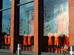 Anfield Store, Liverpool, England (teresue) Tags: 2017 uk england unitedkingdom merseyside liverpool lfc liverpoolfootballclub anfield soccer football footie firmino matip windows shopwindows