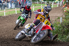 Mike Brown and Mark Jones (MX Man) Tags: mike brown usa america mark jones wales fairleigh castle vmxdn vets motocross des nations team fast ex grand prix former factory honda dirt bike cornering grass spectators kawasaki