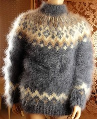 Icelandic mohair wool sweater (Mytwist) Tags: mohair icelandic icelandicsweater íslensk isle istex sweater jumper cozy chunky love tigrisina handmade thick hairy gray mock neck pullover ski ullar itch us baltic gift wedding mens husband wife
