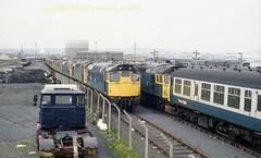Falkland Yard 27004'27065 right 12july86 a332 (Ernies Railway Archive) Tags: ayr falklandyard gswr lms scotrail