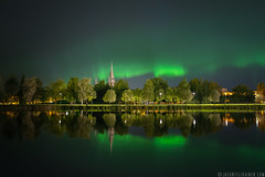 Jason Tiilikainen - Northern Lights Joensuu (Jason Tiilikainen) Tags: aurora joensuu suomi finland lake church light northern lights green city nikon d7100 sigma ngc long exposure