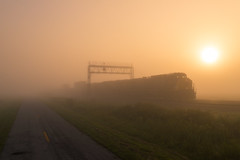 The Soft Light of Dawn (Nolan Majcher) Tags: csxt csx l143 deshler oh ohio 369 ge ac4400 ac4400cw cw44ac sunrise toledo sub subdivision bo baltimore railroad cpl signal bridge