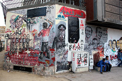 Graffiti in Tahrir Square during the demonstrations (iwys) Tags: graffiti egyypt egyptian demonstrations revolution tahrir square cairo street art youth arab spring canon martyrs arabic police painting downtown people
