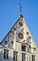 """""""Bishop House"""" gable (Tiigra) Tags: tallinn harjucounty estonia ee 2018 architdetail architecture city crucifix gothic lion metal mural ornament painting religious roof spire weathervane window wood arch art"""