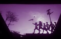 Negaraku Malaysia (Ahmed N Yaghi) Tags: malaysia kuala lumpur one south west entrance serdang selangor flag negaraku country federation establishment formation day eagle kids children sculpture sun sky dark black clouds purple tint 3