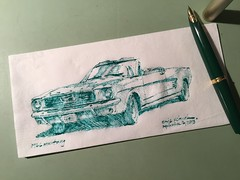 '66 Mustang (schunky_monkey) Tags: cars penandink ink pen fountainpen illustration art drawing draw sketching napkinsketch sketch napkin car classic ford mustang