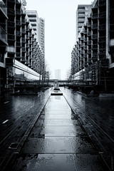 Baltimore Wharf (Ian Smith (Studio72)) Tags: rx100 sonyrx100 sony uk england london isleofdogs baltimorewharf architecture modernlondon urban living wet rainy bw bnw nb blackandwhite mono monochrome dull perspective buildings reflections studio72