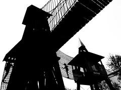 New playground silhouette (Pejasar) Tags: playclimb kids children thegatheringplace oklahoma tulsa new park bw blackandwhite silhouette playground