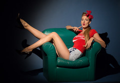 Pin-up (Pawel Wietecha) Tags: pinup girl woman lady model studio light new art flower emotions portrait eyes look face hair pretty beauty glamour people makeup style dark pawel wietecha femme fille dame beauté belleza dama niña bellezza signora ragazza sexy red green