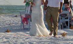 Happy Feet  and In Love (lleon1126) Tags: happyfeet wedding barefootandinlove love barefoot beachwedding outdoors beach smileonsaturday weddingdress bride groom sand starfish sunsetwedding florida annamariaisland