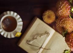 (donna leitch) Tags: stilllife tabletop flatlay tea book flowers dahlia