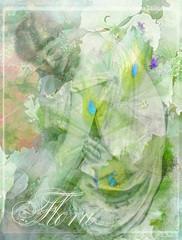 Flora (virtually_supine) Tags: kreativepeopletreatthis203 groundsforsculpture5bybrillianthues sculpture statue woman flowers iris hydrangea creative photomanipulation textures layers greentones digitalartwork collage montage text artnouveauish vintage photoshopelements13mac handheldart ipad icolorama picsart