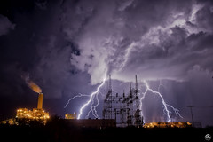 High Voltage (Steven Maguire Photography) Tags: lightning thunderstorm cochisecounty skyscape powerplant monsoonstorms monsoon nikond610 arizona clouds