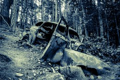 Ghosts of Stuart Island (eikonologos.images) Tags: zeiss12mm fujixt1 blackandwhite monochrome thepast relic sanjuanislands stuartisland trashed rusted automobile abandoned wreck