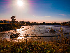 Burry Port Inner Harbour Wales. (KelvinUni) Tags: adobe mud boats seaside harbour lumixg80 burryport