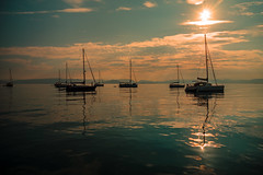 Sunset anchorage.... (Dafydd Penguin) Tags: sun sunset water sailboat sail sailing yacht yachting anchor anchorage boat boats vessels cruise cruising coasting coast sea calm light evening island corfu greece mediterranean leica m10 elmarit 21mm f28