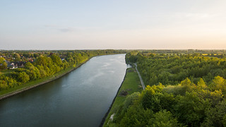 Beautiful sunset from Kiel Canal Bridge