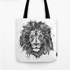 Black and White Lion Head Tote Bag (marianv2014) Tags: tote bags lion lions head heads blackandwhite monochrome grayscale watercolour animal animals watercolor animalart splatters splashes wildanimals carnivores wildlife wallart fineart cats felines kingofanimals kinganimal africa squareformat walldecor watercolorposter animalposter artgifts affordableart illustration artwork art beautiful portrait whitebackground contemporary zoology single decor charming