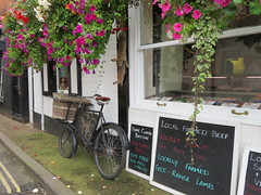The Hanging Butcher (deltrems) Tags: ludlow salop shropshire butcher shop store bike bicycle cycle hanging rabbits