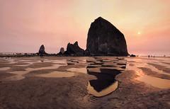 The Oregon Coast (Don César) Tags: oregon coast costa playa beach sand sunset sun sol atardecer amarillo yellow oregoncoast northwest noroeste unitedstatesofamerica estadosunidosdeamerica usa america northamerica norteamerica rock roca piedra haystack cannonbeach