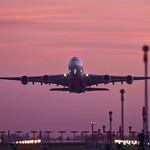 A380 sunset takeoff thumbnail