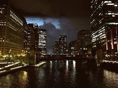 Lightning (ancientlives) Tags: chicago illinois il usa travel trips downtown loop chicagoriver river riverwalk weather lightning storm thunder architecture buildings towers skyscrapers city cityscape skyline lights night walking summer august 2018 wednesday