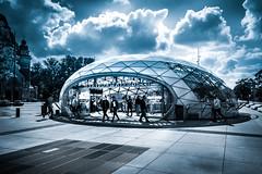 The journey starts at train station Triangeln (Maria Eklind) Tags: trainstation blue fs180902 fotosondag malmö church triangeln sky kyrka start monochrome sweden clouds skånelän sverige se architecture