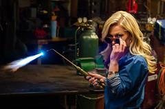 Kim Redemption-42 (sammycj2a) Tags: overalls coveralls blonde blueeyes bridgeport welding weldingtable scar gorgeous hot nikonphotography pinup machinist welder girl denim posing