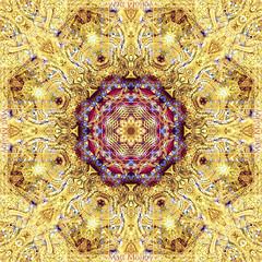 Fractal Flower (Matt Molloy) Tags: mattmolloy photography kaleidoscope digitallymirrored mirroring rotation symmetry symmetrical patterns fractal mandala flower repetition geometric shapes octagon 8 lines watkhuankhama detailed decoration gold red blue intricate art chiangmai thailand lovelife