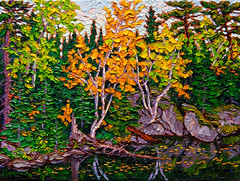 Hidden bay, Lake of the Woods (RobM333) Tags: autumn fall oil painting landscape paletteknife water lake shore impasto bold impressionism impressionistic birch trees leaves ontario kenora lakeofthewoods