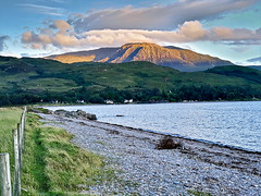 "Glenelg ""Ayers Rock"" Scotland (vincocamm) Tags: beinnchapuill scotland glenelg beach galder bay sunset green orange clouds cloudy dusk pebbles"