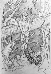 The Birth Of A Swamp nymph (ETt_) Tags: nymph birth swamp drawing art doodle sketch ink girl trees naked nude young cartoon forest branches dark fantaisy