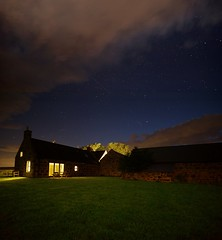 Bothy at Night (matthewblackwood10) Tags: bothy night nighttime dark time evening stars star astro cloud clouds scotland uk crawton cottage windows window light lights courtyard house country