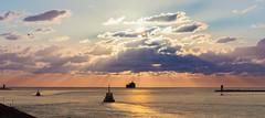 Port of Amsterdam sunset (tribsa2) Tags: nederlandvandaag sunrisesunset sunset seaside sky seascape shoreline ship