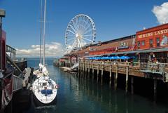 Pier 57 & Seattle Great Wheel (Infinity & Beyond Photography) Tags: pier 57 seattle great big wheel dock sailboat water buildings bay views eye