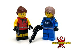Resident Evil 2: Claire Redfield and Leon Kennedy (Saber-Scorpion) Tags: lego minifigs minifigures minifig minifigure moc brickarms residentevil residentevil2 re2 claireredfield redfield leonkennedy raccooncity rpd biohazard
