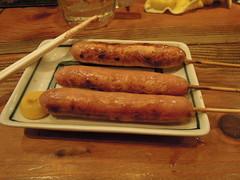 Sausages (kevincrumbs) Tags: tokyo 東京 taito 台東 taitoku 台東区 ueno 上野 daitouryou 大統領 もつ焼き大統領 food japanesefood sausage ソーセージ
