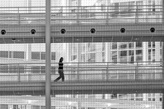 White all over (Leipzig_trifft_Wien) Tags: denhaag provinzsüdholland niederlande nl white architecture modern contemporary bnw contrast person people street streetphoto inside silhouette shadow