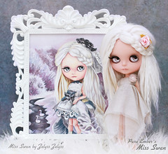 Another life (pure_embers) Tags: pure embers blythe doll dolls custom sharonavital miss swan missswan embersmissswan embersswan neemo flection takara neo white alpaca hair reroot uk girl cute rbl pureembers pretty original painting zelysszelyss zelyss framed picture